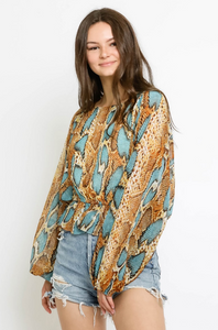 Cinched Waist Snake Print Top