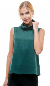Stretch Suede Cowl Neck Top