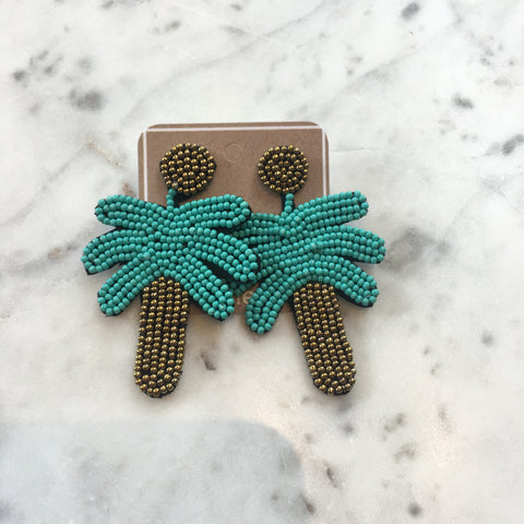 Seed Bead Palm Tree Earrings