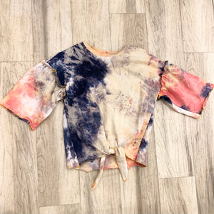 Tie Front Tie Dye with Sleeve Ruffle