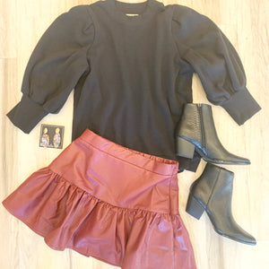 Vegan Leather Ruffle Skort