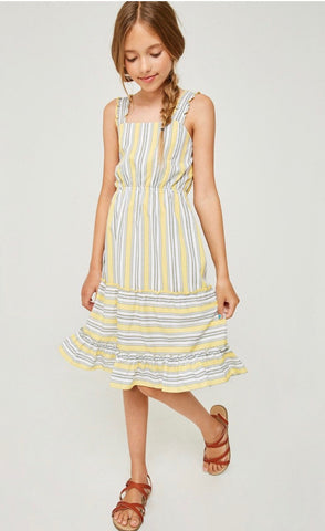 Stripe Ruffle Fit & Flare Midi Dress