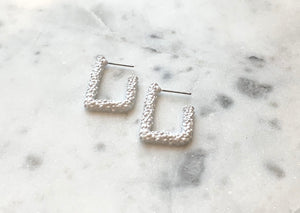 Textured White Rectangle Hoop Earring