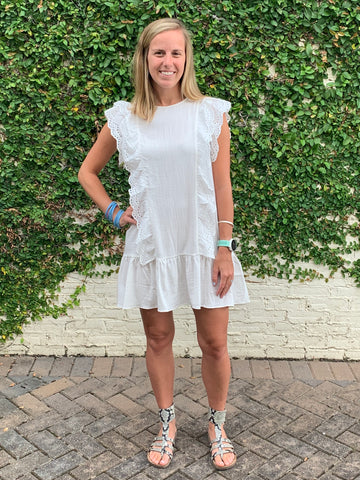 White Eyelet Trim Dress