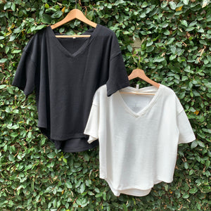 V-Neck Thermal Knit Top