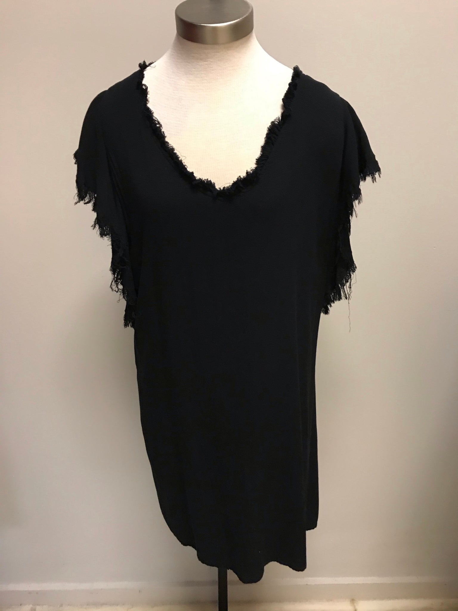 Black Cap Sleeve Dress