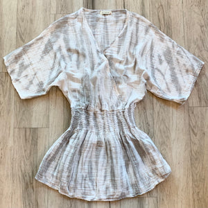 Overlap Mini Dress - Pearl Grey Gauze