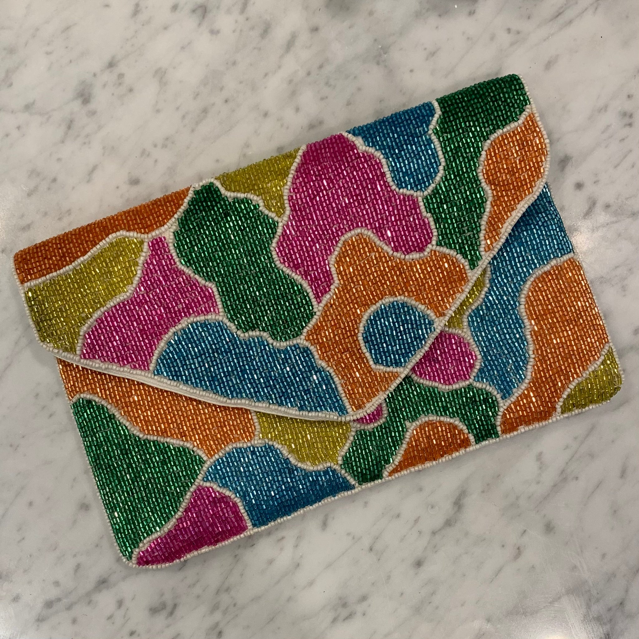 Abstract Beaded Clutch
