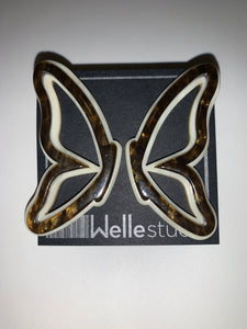 Twotone Acetate Butterfly Earrings