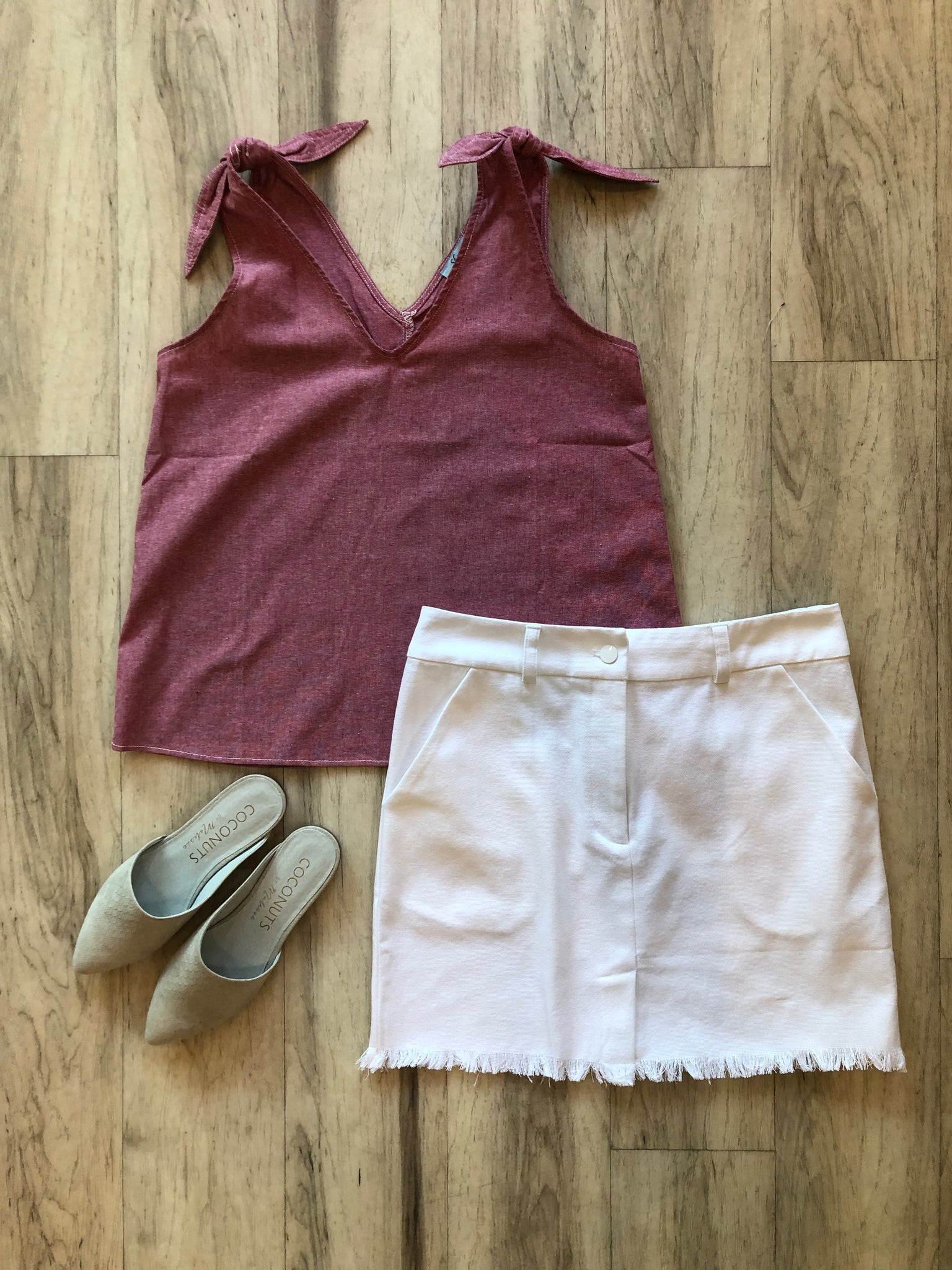 Red Chambray Tie Top
