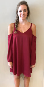 Wine Cold Shoulder Dress