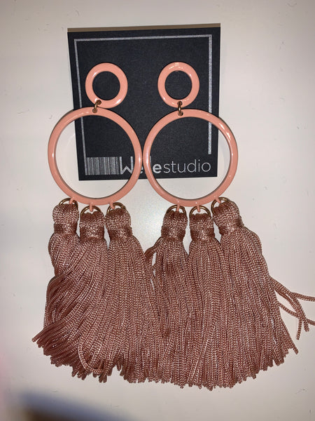 Multi Tassel Circle Earrings