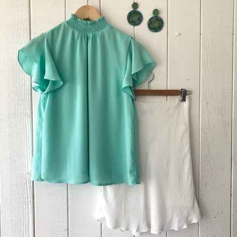 Smocked Neck Woven Top