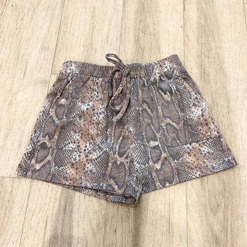 Girls Drawstring Shorts - Reptile Print