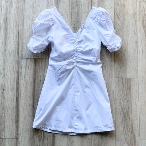 Ruched Mini Poplin Dress