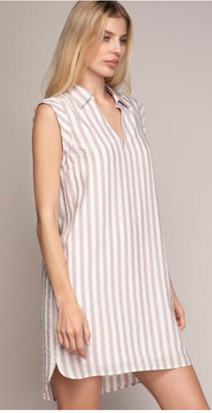 Stripe Fold Over Sleeve Band Shirt Dress
