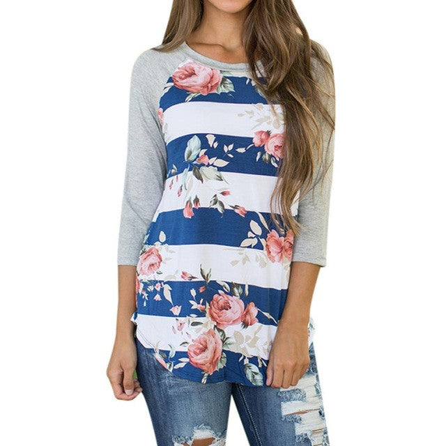 Plus Size  T shirt Floral Print - Rodeo.Driving