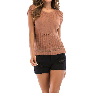 Round Neckline Knitted Tee - Rodeo.Driving