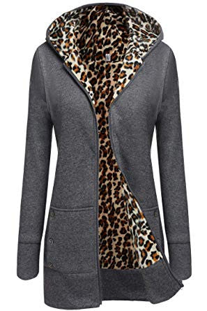 Leopard Pattern Women's Medium-long Fleece Zippered Hoodie Coat - Rodeo.Driving