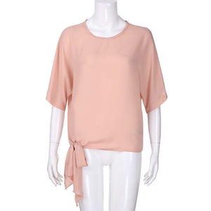 Casual Tie Knot Tee /Blouse - Rodeo.Driving