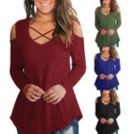 Casual Cross Tops Cold Shoulder Tee - Rodeo.Driving