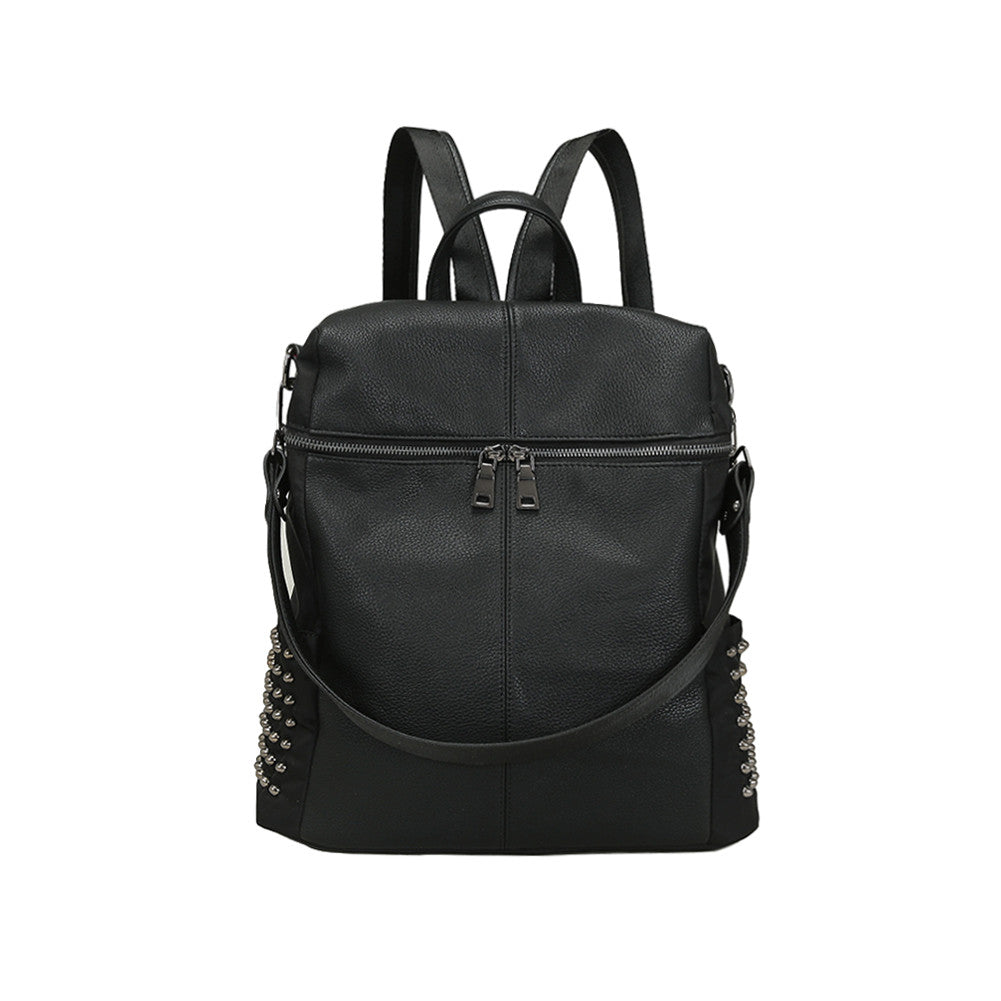 Women's Backpack, Leather, Zipper, Adjustable Strap - Rodeo.Driving