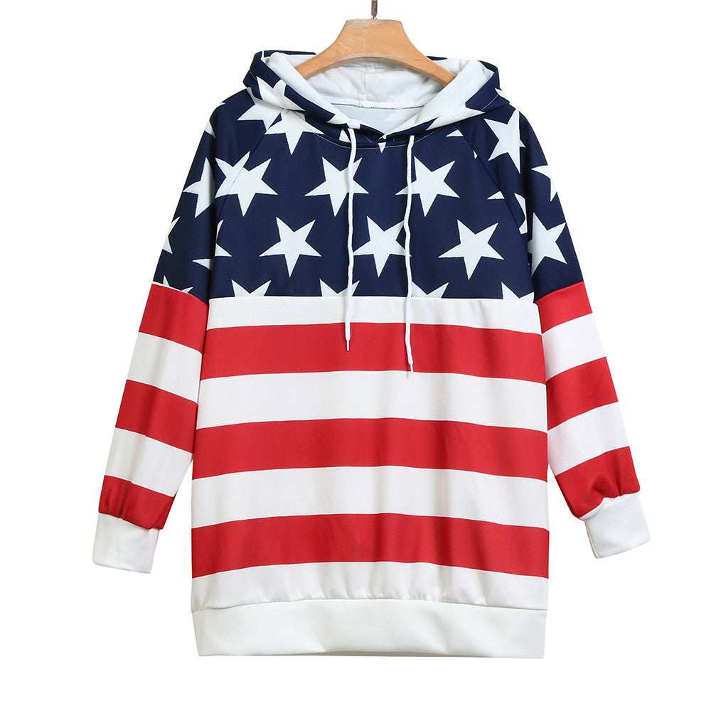 Unisex American Flag  Hoodie, w/Pockets - Rodeo.Driving