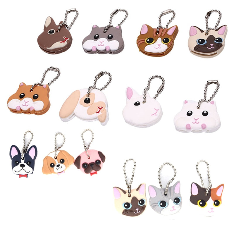 1 Pc Silicone Key Ring Cap Head Cover Keychain Case Cat  Dog Rabbit Animals Shape Lovely Jewelry Gift - Gloray's Graphics & Designed Wear