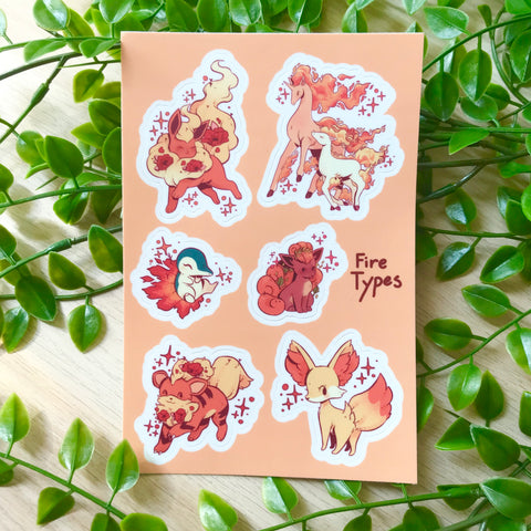 Fire Pokémon vinyl sticker sheet