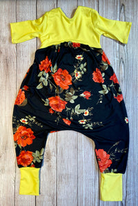 Red and Yellow Floral Low Back Romper
