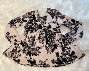 Black and White Floral Low Back Peplum