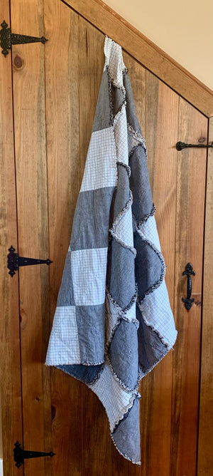 "Plaid and  grey Quilt 55""x 45"""