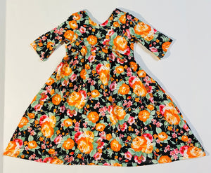 Fall Bloom Floral Low Back Swing Dress