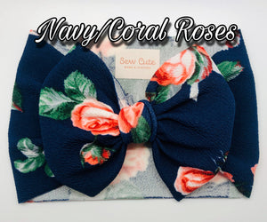 Navy and Coral Roses