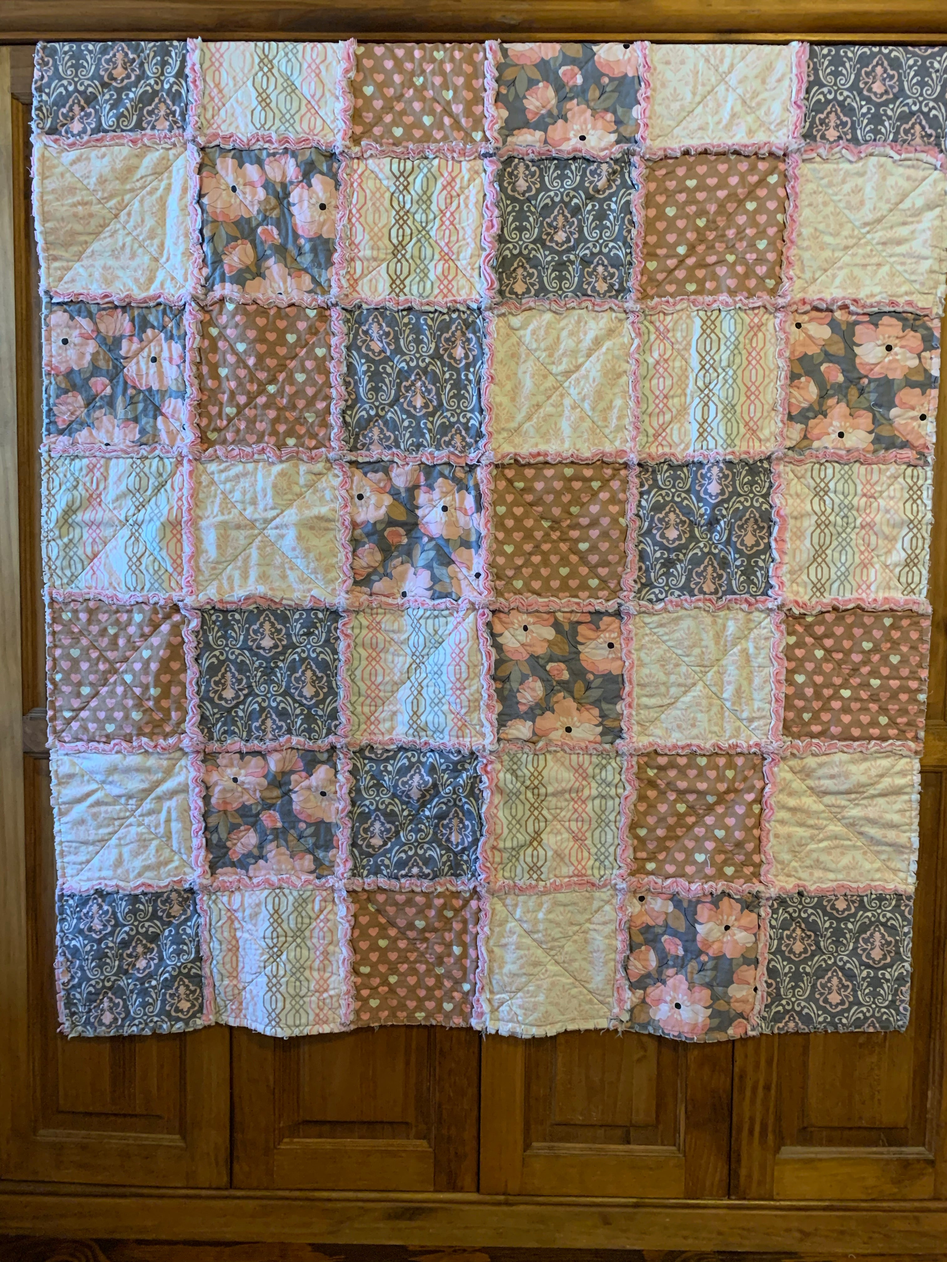 "Pink and Gray Child's Quilt 43""x48"""
