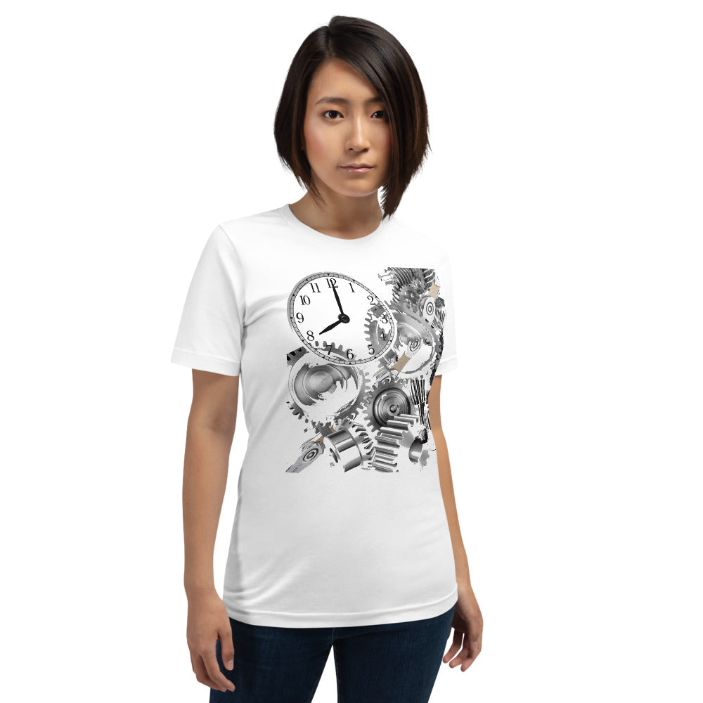 Short-Sleeve Unisex T-Shirt Gears and Clock Chains