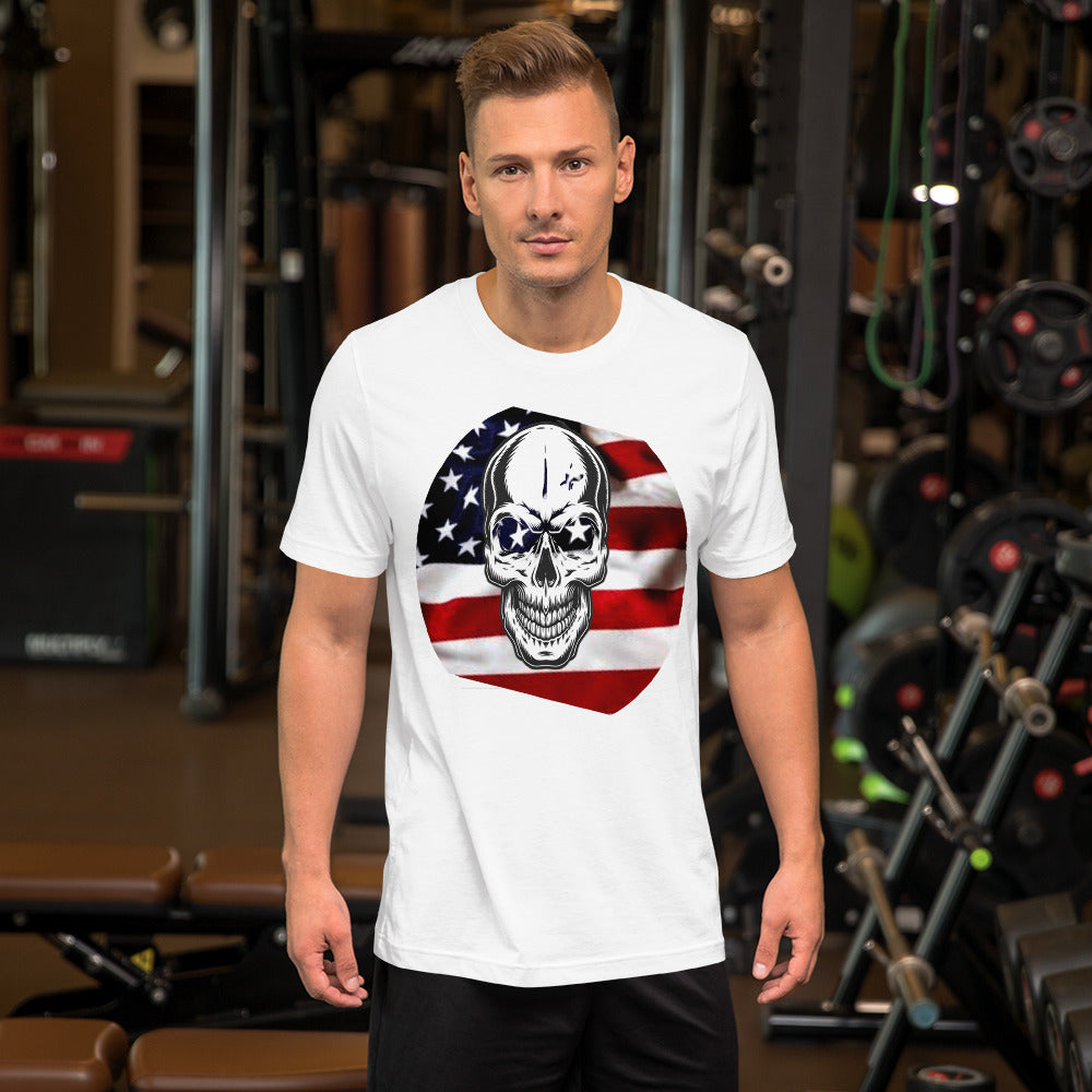 Short-Sleeve Unisex T-Shirt Flag and Skull