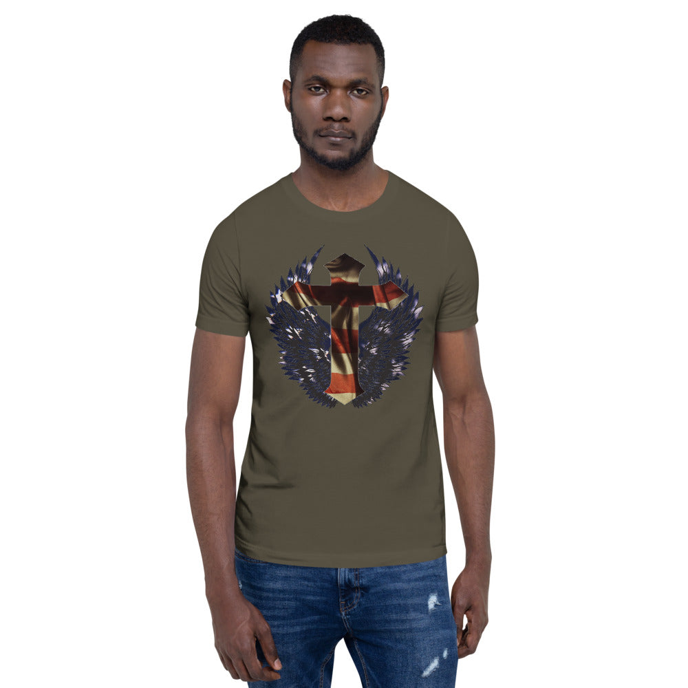 Short-Sleeve Unisex T-Shirt Wings Cross Flag