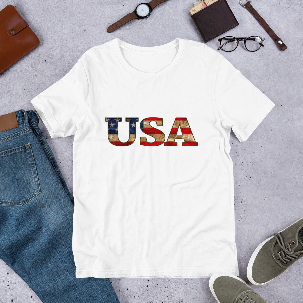 USA Flag Bella + Canvas 3001 Unisex Short Sleeve Jersey T-Shirt with Tear Away Label