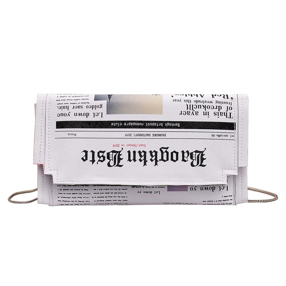 Newspaper Print Crossbody Shoulder Messenger Bag