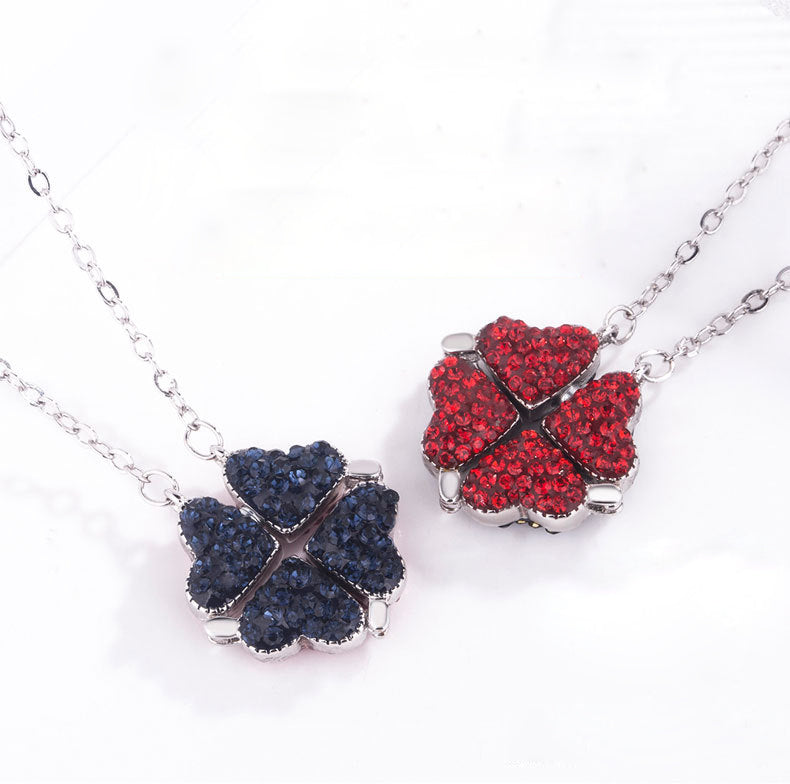 Double Sided Four Leaf Clover Necklace (2 pcs)