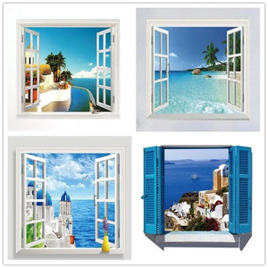 3D Beach View Wall Sticker