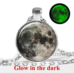 Handmade Full Moon Glow In the Dark Pendant Necklace