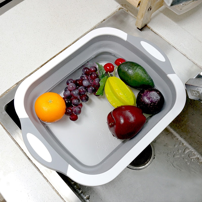 Collapsible Chopping Board Food and Fruit Basket Tub