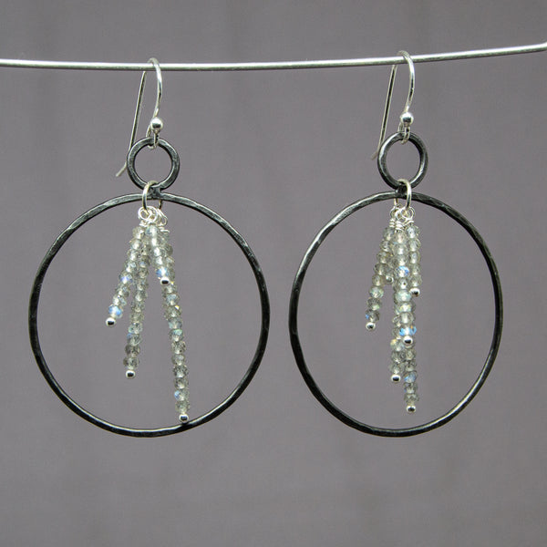 Iron Labradorite Burst Hoop Earrings