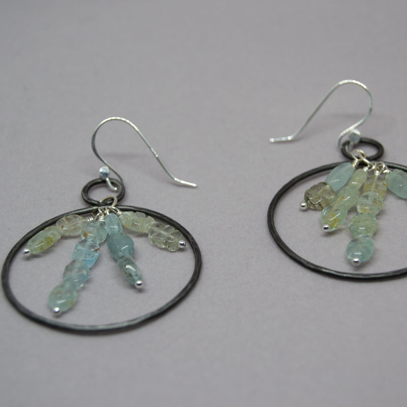 Iron Aquamarine Hoop Earrings