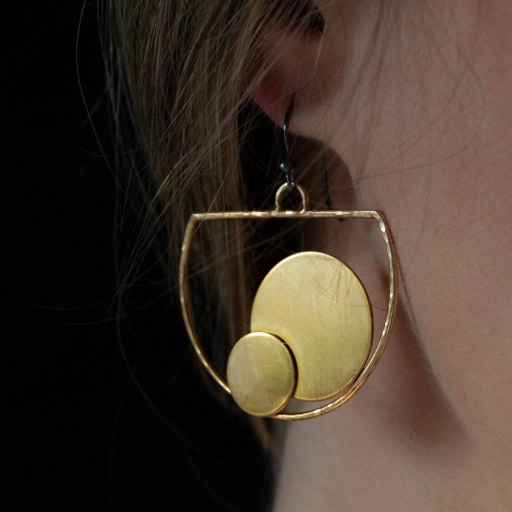 Golden Bronze Vessel Earrings