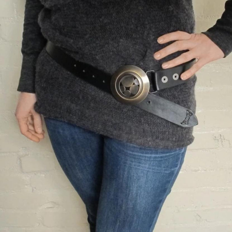 handmade brass belt buckle for snap belt - brass pebble lens buckle - modern architectural fashion -