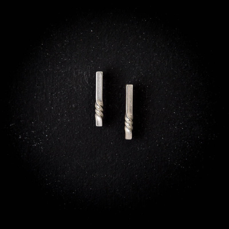 minimal sterling studs - geometric silver earrings - earrings for wife - architectural jewelry -modern earrings - everyday earrings