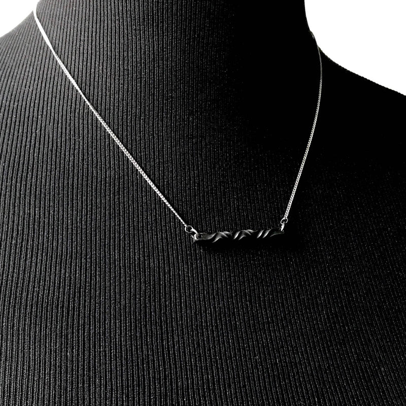 Iron twist bar necklace - 6th anniversary gift for wife- modern architectural necklace - stainless steel and steel jewelry -